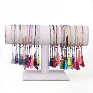 Boho Bižu náramok Friendship Bracelet Multicolor, cyclamen