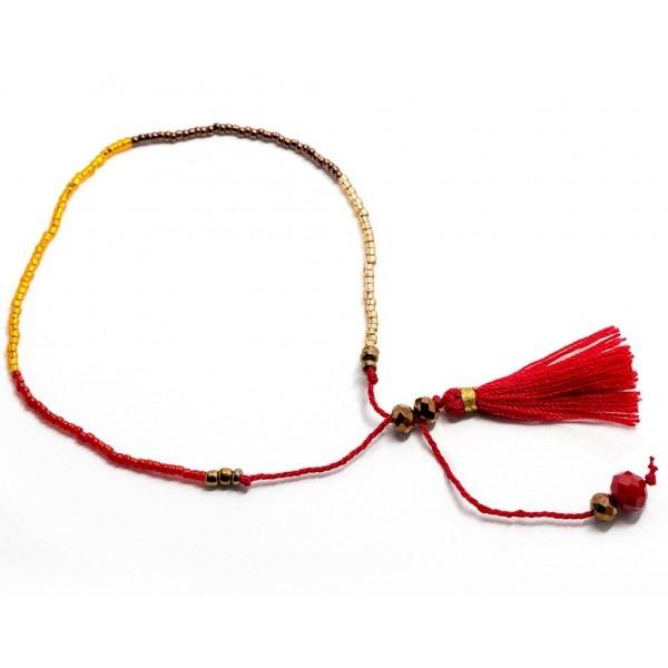 Boho Bižu náramek Friendship Bracelet Multicolor, červený