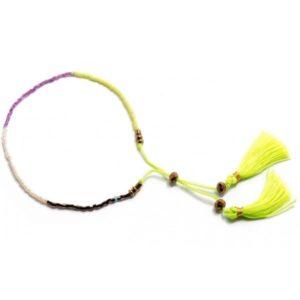 Boho Bižu náramok Friendship Bracelet Multicolor, neónovo-žltý