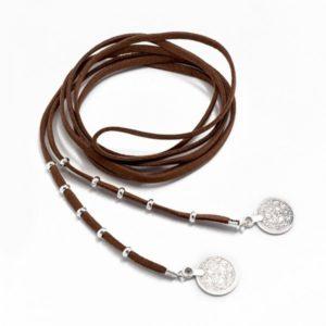 Boho Bižu náhrdelník Velvet Choker hnedý