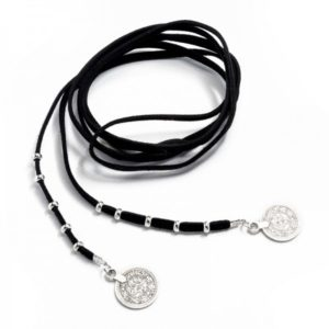 Boho Bižu náhrdelník Velvet Choker čierny