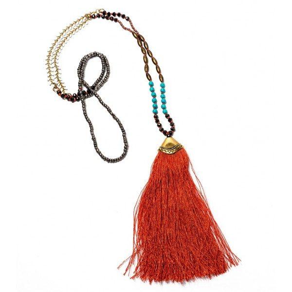 Boho Bižu náhrdelník Bohemian Symbol oranžový