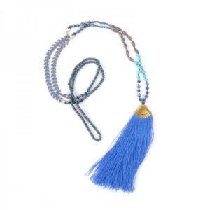 Boho Bižu náhrdelník Bohemian Symbol modrý